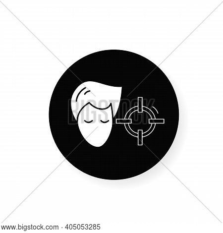 Attention Concentration Flat Glyph Icon. Person Head With Target. Silhouette Concept Of Concentratio