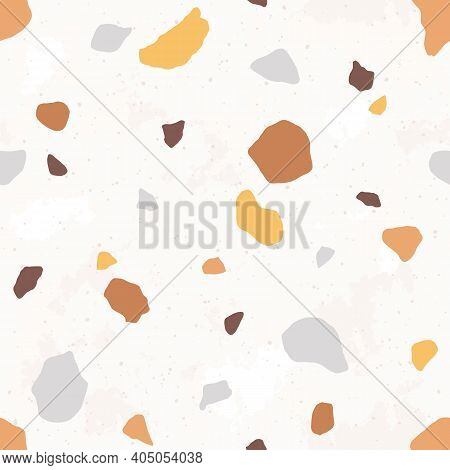 Venetian Terrazzo Seamless Pattern. Modern Abstract Endless Texture With Small Fragments Of Stones.