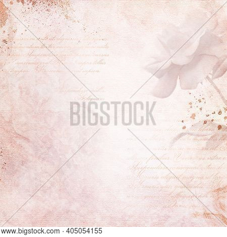 Old Paper Background With Calligraphic Text And Rose. Romantic Vintage Letter - Card With Copy Space