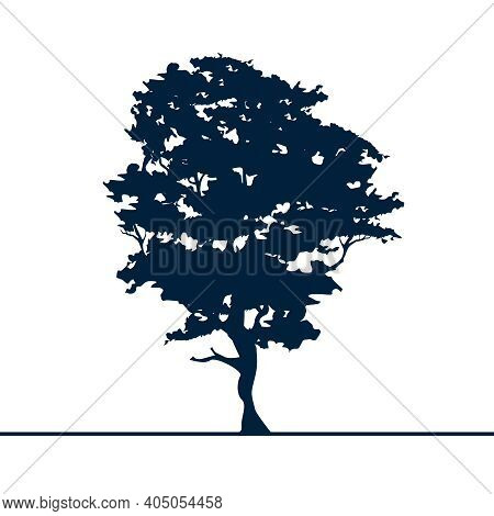 Alder Tree Isolated Silhouette. Black On White.