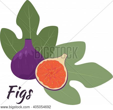 Fig Fruits On A White Background, Editable Object. Figs Whole And Cut In Half With Leaves. Isolated