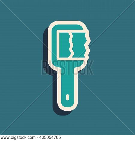 Green Sauna Brush Icon Isolated On Green Background. Wooden Brush With Coarse Bristles For Washing I