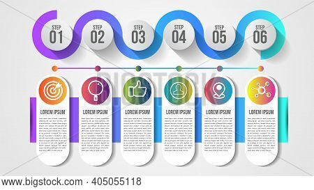Infographic Modern Timeline Design Vector Template For Business With 6 Steps Or Options Illustrate A