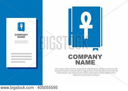 Blue Cross Ankh Book Icon Isolated On White Background. Logo Design Template Element. Vector