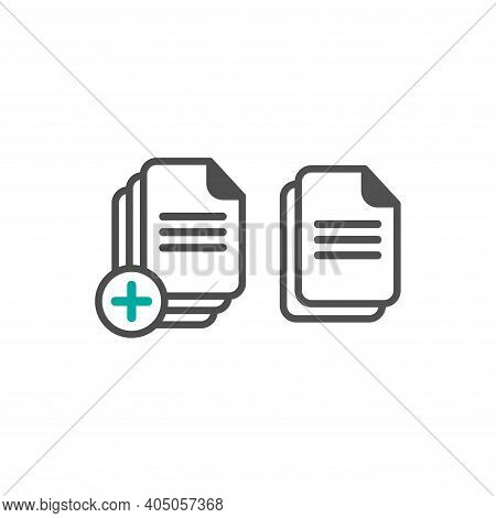 Set Of Document Icons. Black Rounded Document Sheet With Plus Sign. Flat Icon Isolated On White. Upl