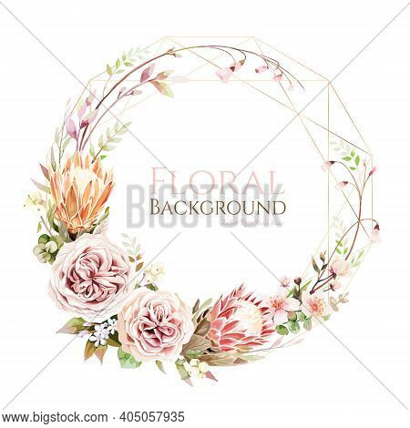 Juliet Rose And Protea Flower With Cherry Blossom Wreath On White Background.
