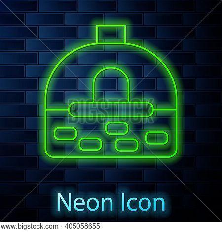 Glowing Neon Line Brick Stove Icon Isolated On Brick Wall Background. Brick Fireplace, Masonry Stove