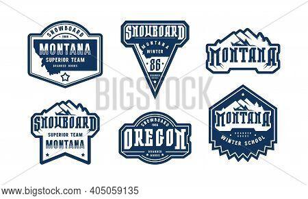 Montana And Oregon Snowboarding Emblem Set. Graphic Design For Sticker And T-shirt. Black Print On W