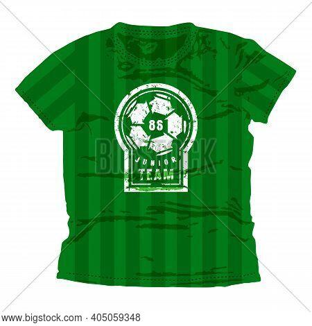 Soccer Junior Team Emblem. Graphic Design For T-shirt. White Print On Green Wear