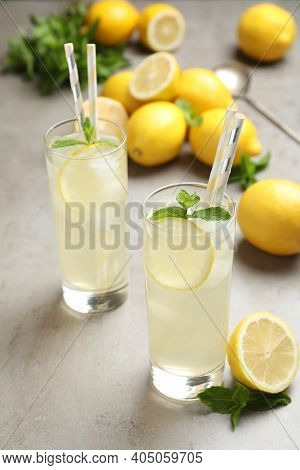 Natural Lemonade With Mint On Light Grey Table. Summer Refreshing Drink