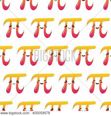 World Pi Day Vector Seamless Pattern Background With Cute Cartoon Style Pi Letter Characters.
