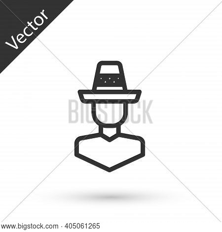 Grey Line Mexican Man Wearing Sombrero Icon Isolated On White Background. Hispanic Man With A Mustac