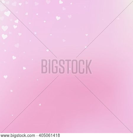 White Heart Love Confettis. Valentines Day Corner Curious Background. Falling Transparent Hearts Con