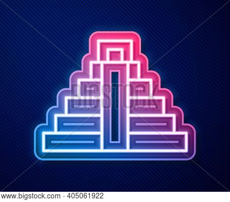 Glowing Neon Line Chichen Itza In Mayan Icon Isolated On Blue Background. Ancient Mayan Pyramid. Fam