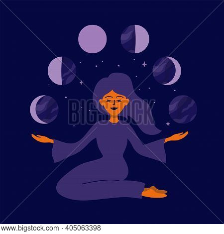 Girl Holding Moon Phases In Hands. Female Nature, Cyclicity, Menstrual Cycle. Womens Health, Life En