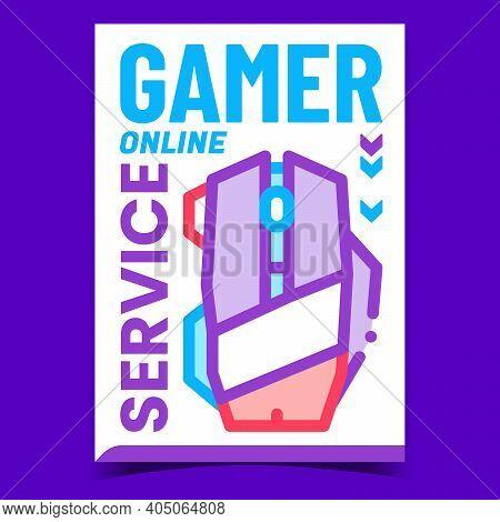 Gamer Online Service Promotional Banner Vector. Gamer Gadget Computer Mouse For Playing Internet Gam