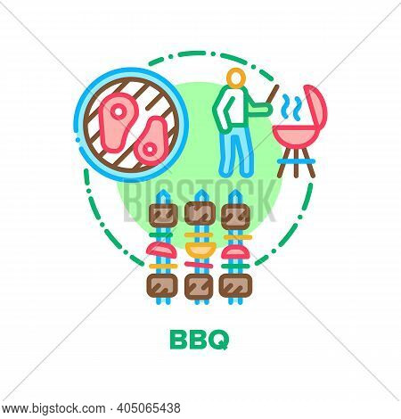 Bbq Picnic Food Vector Icon Concept. Barbeque Fried Meat With Vegetables, Chef Grilling And Frying M