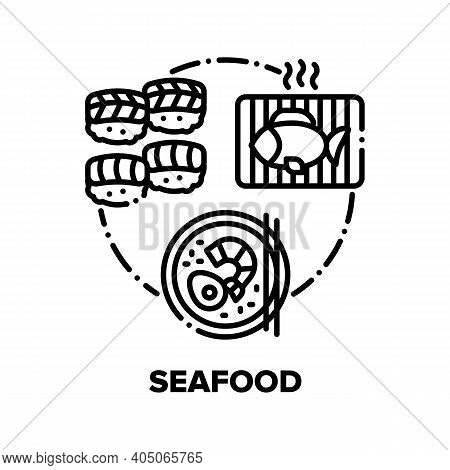 Seafood Snack Vector Icon Concept. Japanese Seafood Dish, Sushi And Asian Soup With Egg And Shrimp,