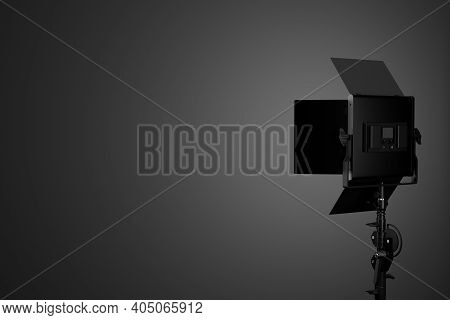 Photography Studio Led Flash Light On A Stand With Curtain.