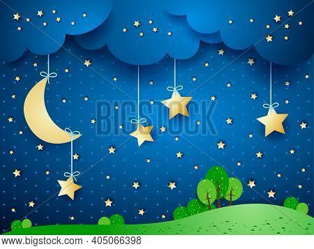 Countryside, Fantasy Landscape By Night. Vector Illustration Eps10
