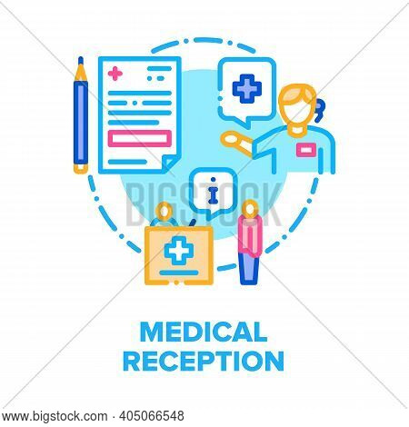 Medical Reception In Hospital Vector Icon Concept. Receptionist Discussing With Patient, Help To Fil