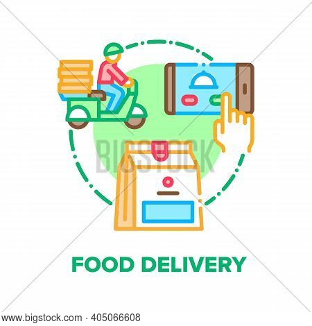 Food Delivery Vector Icon Concept. Nutrition Express Delivery Service Phone Online Application And D