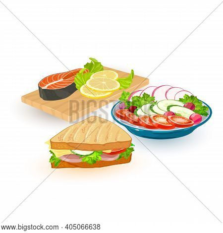 Collection Of Different Meal Portions, Steak Salmon Fish Served With Lemon, Fresh Veggies Salad And