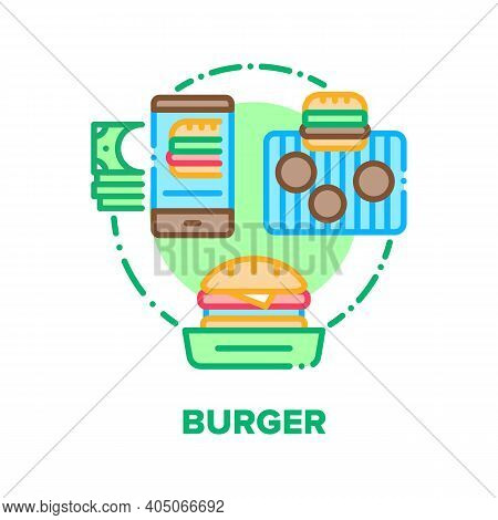 Burger Food Vector Icon Concept. Fast Food Sandwich Online Ordering And Paying, Delicious Hamburger