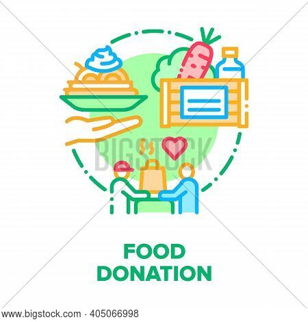 Food Donation Vector Icon Concept. Volunteer Delivering Donation Box With Foodstuffs, Fresh Natural