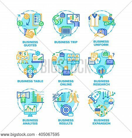 Business Plan Set Icons Vector Color Illustrations. Business Analysis And Results, Online Research A