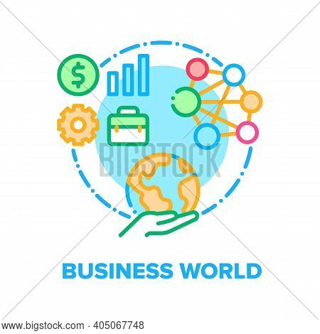 Business World Vector Icon Concept. Internet Global Business And Communication With Partners, Intern