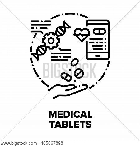 Medical Tablets Vector Icon Concept. Pain Killer And Healthcare Tablets, Medicaments For Treatment D
