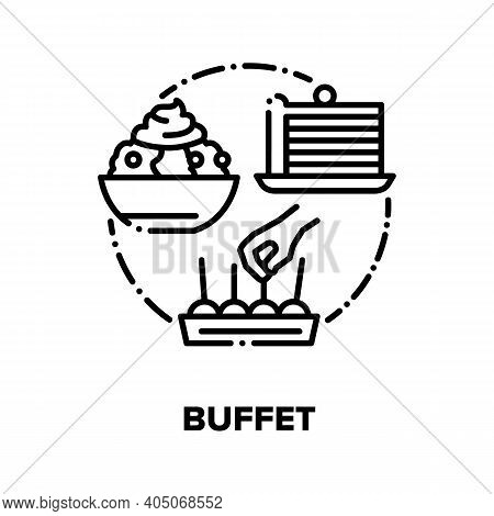 Buffet Menu Vector Icon Concept. Buffet Dinner Restaurant Catering Food, Tasty Dish, Delicious Desse