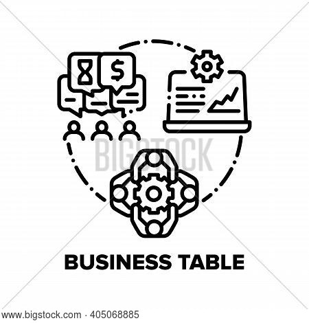 Business Table Vector Icon Concept. Conference Room Table For Conference And Meeting With Partners O