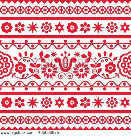 Polish Folk Art Vector Seamless Embroidery Retro Pattern With Flowers Inspired By Embroidery Designs
