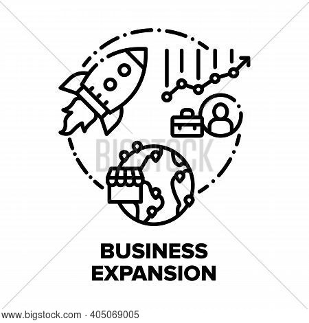 Business Expansion Success Vector Icon Concept. Company Expansion And Opening Office Branches In Wor