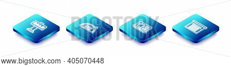 Set Isometric Line Hanging Sign With Sale, Warehouse, Online Real Estate And Garage Icon. Vector