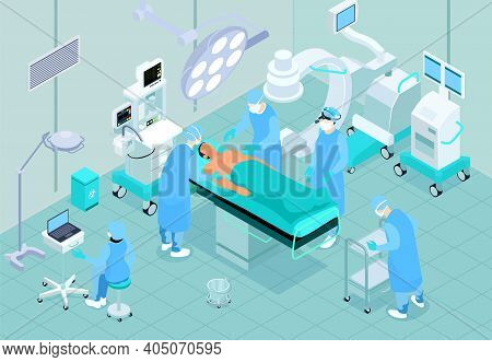 Medical Operating Room Isometric Interior With Patient On Surgical Table Surgeon Nurse Assistant Per