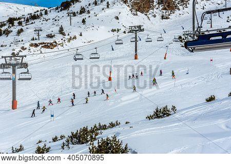 Grandvalira, Andorra: 2021 January 17: School Ski Class At The Grandvalira Ski Station In Andorra In