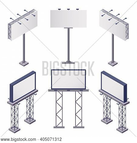 Advertising Constructions Isometric Icons Set With Rectangular Blank Billboards On White Background