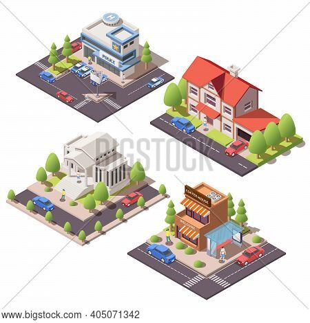 Set Of Isometric Compositions With 3d Modern City Residential And Public Buildings Isolated On White