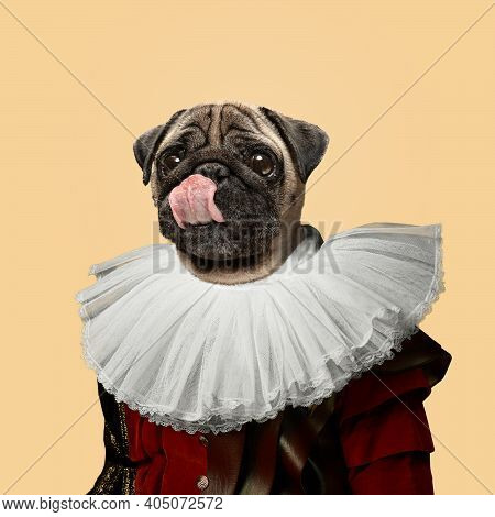 Tasty. Model Like Medieval Royalty Person In Vintage Clothing Headed By Dog Head On Yellow Peach Bac
