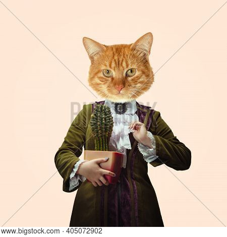 Plants. Model Like Medieval Royalty Person In Vintage Clothing Headed By Cat Head On Light Orange Ba