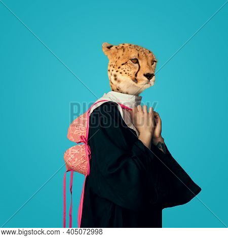 Lingerie. Model Like Medieval Royalty Person In Vintage Clothing Headed By Leopard Head On Blue Back