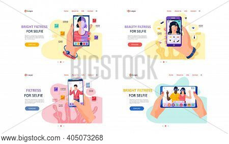 Bright Filters For Selfie Screen Interface Photo Frame In Social Media Application With Portrait Of