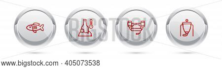 Set Line Dried Fish, Cold Beer Bottle, Beer Helmet And Brewing Process. Silver Circle Button. Vector