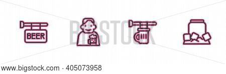 Set Line Street Signboard With Beer, Signboard Glass Of Beer, Happy Man And Cold Can Icon. Vector