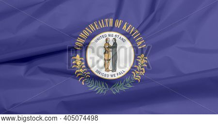 Crease Of Kentucky Fabric Flag Background, The States Of America. The Commonwealth's Seal On A Navy
