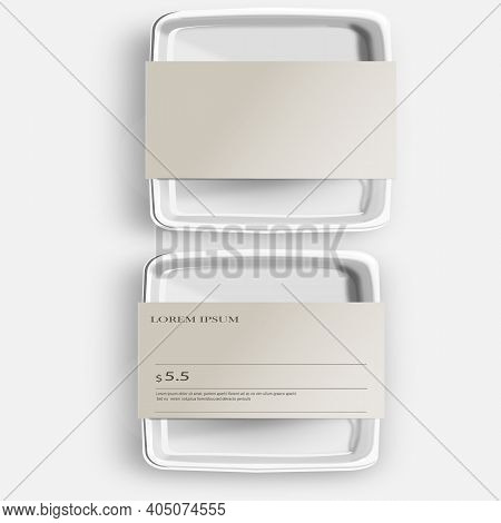 White Mockup Empty Blank Styrofoam Plastic Food Tray Container With Lable. Illustration Isolated On