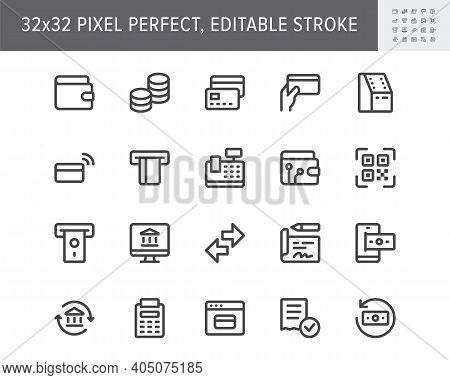 Finance Operations Simple Line Icons. Vector Illustration With Minimal Icon - Banking, Credit Card,
